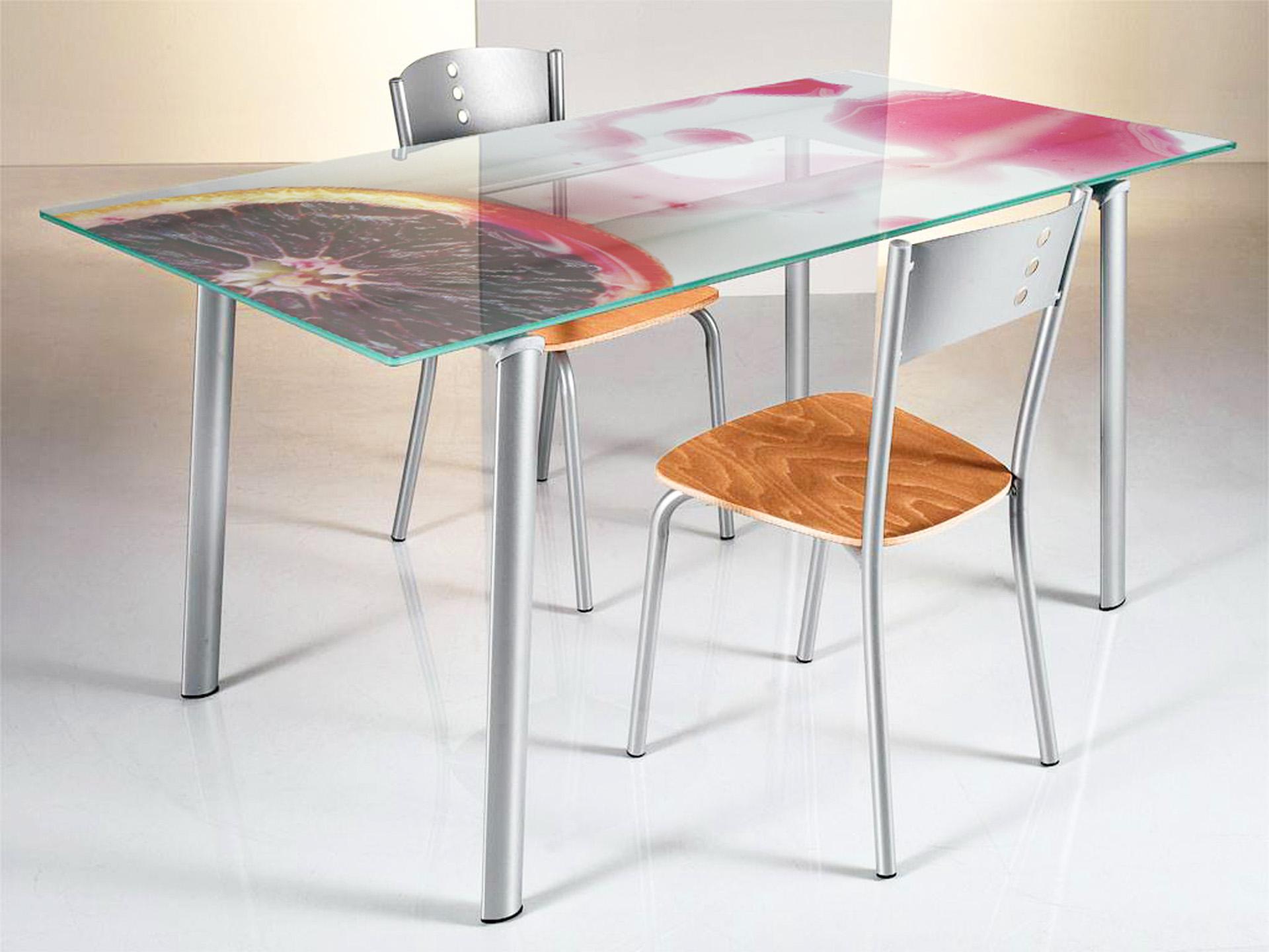 Tavolo in vetro con stampa natura morta - Stampa Nel Vetro